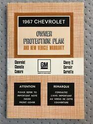 1967 Corvette Chevelle Camaro Owners Canadian Nos Warranty Book Ss 427 396 435