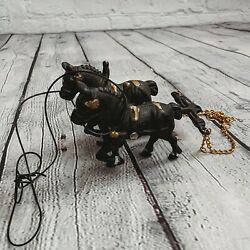 Vintage Antique Cast Iron Horses Figures For Coach Carriage Buggy Wagon