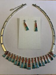 """Calvin Begay Sterling Turquoise And Coral Opal Fancy Necklace Set 18"""" Nos Nice"""