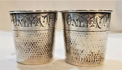 Pair Webster Sterling Silver Jigger Shot Measure Cup Glass Only A Thimble Full