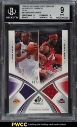2004 Sp Game Used Authentic Fabrics Dual Bryant/james Bj Bgs 9 Mint