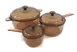 Vision Corning Pyrex Amber Glass Cookware 6 Piece Set Pots With Lids Usa Made