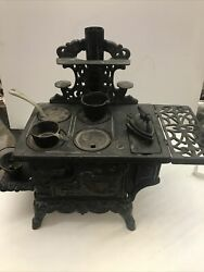 Antique Crescent Childrens Wrought Iron Wood Burning Stove With Accessories