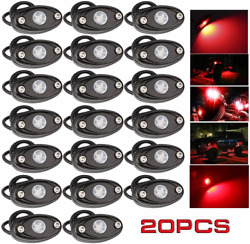 Ledmircy Led Rock Lights Red 20pcs Kit For Off Road Truck Rzr Atv Suv Car Auto