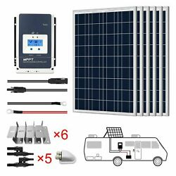 Acopower 600w 12v Poly Solar Rv Kits Panel 50a Mppt Charge Controller