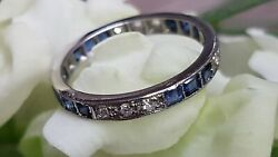 Secondhand 18ct White Gold Diamond And Blue Saphire Full Eternity Band Ring Size M