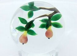Lovely Debbie Tarsitano Miniature Paperweight Pears On Leafy Branches Free Ship