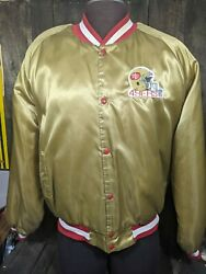 49ers Vintage Satin Bomber Jacket Quilted Lining, Gold Chalk Line Xxl Usa Made