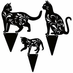 3 Pack Metal Black Cat Garden Statues Stakes Silhouette For Outdoor Yard Lawn