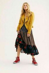 Free People M Blazer Jacket Gold Black Cadet Coat Military Linen For Your Maxi