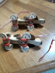 2-vintage 1961 181 Twin Usa Fisher Price Snoopy Wooden Walking Dog-working