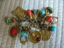 Egyptian Themed Charm Bracelet 7.5 Inches Long Vintage