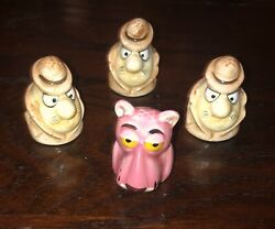 Rare Lot Vintage Pink Panther 4 Thimbles Characters Toy United Artists Ceramic