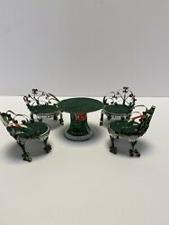 Vintage Mountain Dew Tin Can Tramp Art Doll House Furniture 4 Chairs And Table