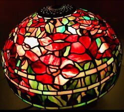 """Vintage Stained Glass Hanging Light Fixture Lamp Floral Red Green 18"""""""