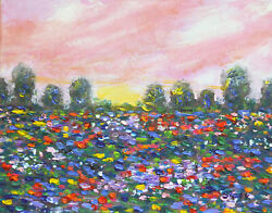Pink Sunset Small Original Landscape With Flower Field Oil Painting On Canvas
