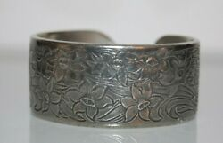 Salisbury Pewter Couture March Flower Design Silver Toned Pewter Cuff Bracelet