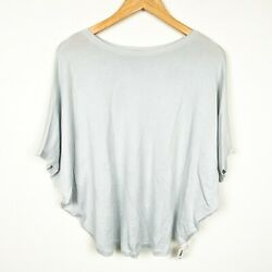 Planet By Lauren G Boat Neck Kimono Sleeve Ice Blue Blouse Top Womens One Size