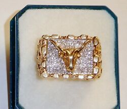 14k Solid Gold Texas Longhorn Diamond Ring Sz 9 3/4 19.2 Gm Exc Cond Fast S/h