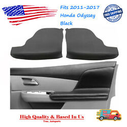 2pcs Door Armrest Replacement Cover Leather Black For Honda Odyssey 2011-2017