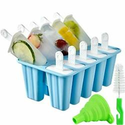 Popsicle Molds,popsicle Mold 10 Pieces Silicone Ice Pop Mold Popsicle Easy Re...