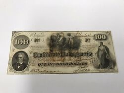 Aando-t-41-1862 100 Confederate Issue That Is Very High Grade-issued Montgomery