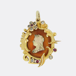 Gold Diamond Brooch- Queen Victoria Jubilee Ruby And Diamond Pendant/brooch