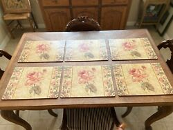 Set Of 6 Vintage Pimpernel Placemats Cork Back Roses Cottagecore French Country