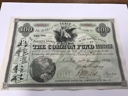 Aando-100-50-1869 Signed-common Fund Company Limited Stock Certificate England