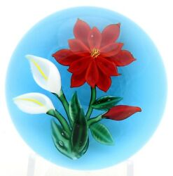 Awesome Randall Grubb Blossom Poinsettia And Lilly Bouquet Art Glass Paperweight