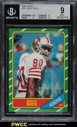 1986 Topps Football Jerry Rice Rookie Rc 161 Bgs 9 Mint