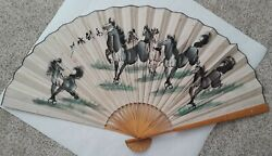 Vintage Asian Bamboo Folding Fan Hand Painted Large Wild Horses Wall Art
