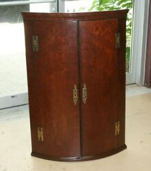Antique Georgian English Hanging Corner Cabinet Mahogany Late 1700and039s Bow Front