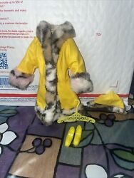 Vintage Mod Barbie Yellow Fur Trimmed Coat Hanger And Shoes 1459 From Great Coat