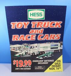 Collectible Gasoline Dealerand039s Poster Sign For Hess Truck And Race Cars