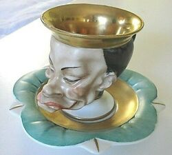 Rare Unique Antique Italy Capodimonte Chinese Official Face Gold Cup And Saucer