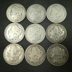 1 Morgan Silver Dollar Us Mint Coin Lot Of 9 Coins All Different Dates Mints