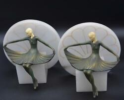 Vintage French Art Deco Painted Bronze Lady Bookends From Bon Marche