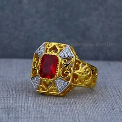Exclusive Heavy Solitaire Stone Ring 22k Yellow Gold Menand039s Gold Ring Cz Stone 28