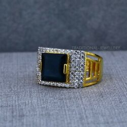 Exclusive Heavy Solitaire Stone Ring 22k Yellow Gold Men's Gold Ring Cz Stone 45