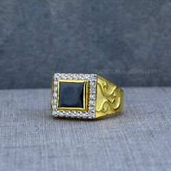 Exclusive Heavy Solitaire Stone Ring 22k Yellow Gold Men's Gold Ring Cz Stone 46
