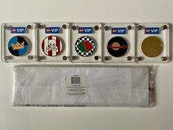 Lego Vip Collectible Coin Series - All 5 Coins W/case - Complete Collection