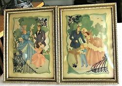 2 Vintage 1942 Victorian Silhouette Convex Glass Wood Frame S.colef Couple Child