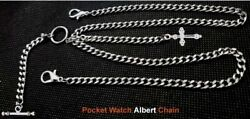 Vintage Look Very Strong Pocket Watch Albert Double Chain With Fob And T-bar