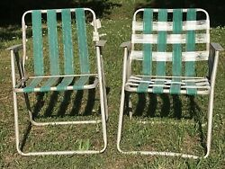 Set Of 2 Vintage Aluminum Beach Lawn Chairs Outdoor Folding Chairs Framed