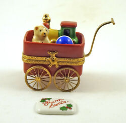 New French Limoges Trinket Box Christmas Wagon Toys Andsanta Letter Moving Wheels