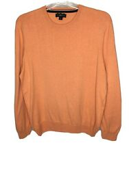 Club Room Sweater Mens Large Silk Cotton Cashmere Blend Pullover Tangerine