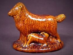 Very Rare Antique 1800 Sheep And Lamb Rockingham Yellow Ware Staffordshire Mint