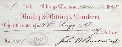 Rare 1880's Bailey And Billings Bank Check Agent Signs Founder Billings Montana