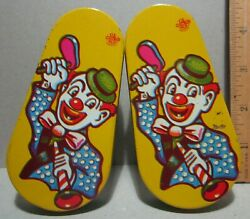 Clown Noise Maker Us Mfg Lot Of 2 Party Metal Toy Tin Litho Vg+ Horn Hat Yellow